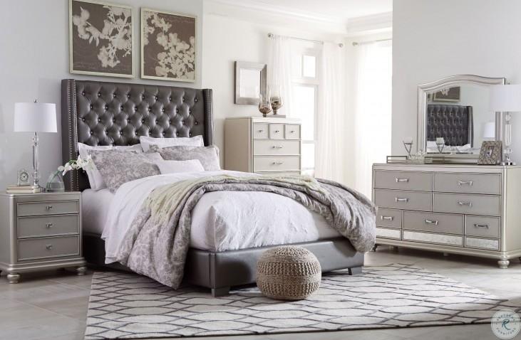 Coralayne Gray Textured Upholstered Panel Bedroom Set