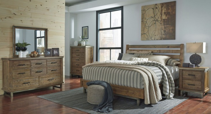 Dondie Warm Brown Platform Bedroom Set