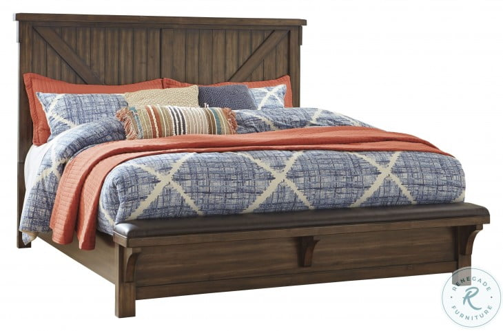 Lakeleigh Brown King Panel Bench Bed
