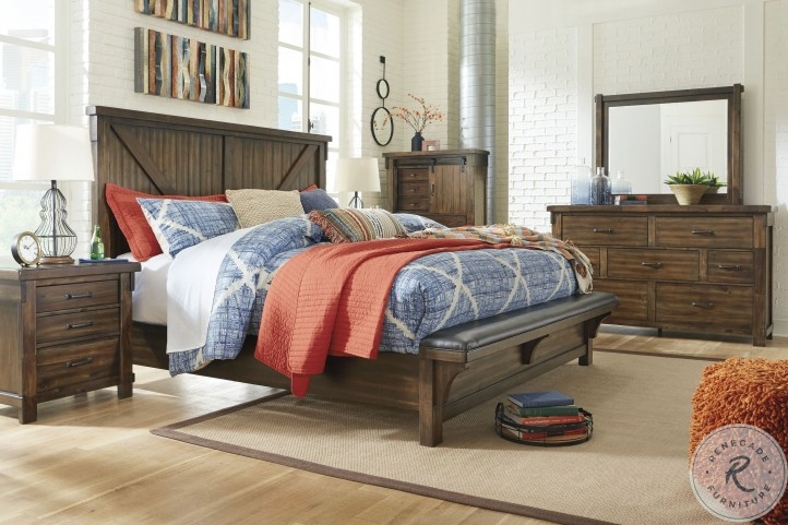 Lakeleigh Brown Cal. King Panel Bench Bed