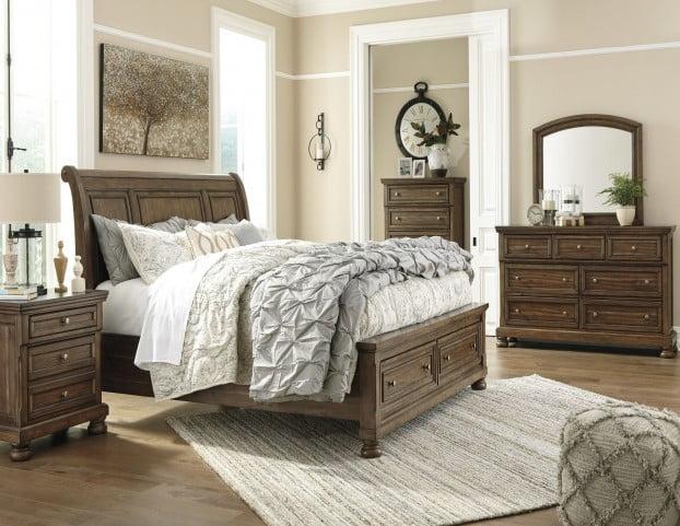 Flynnter Medium Brown Sleigh Storage Bedroom Set