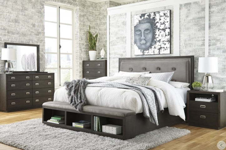 Hyndell Dark Brown Queen Upholstered Panel Storage Bed