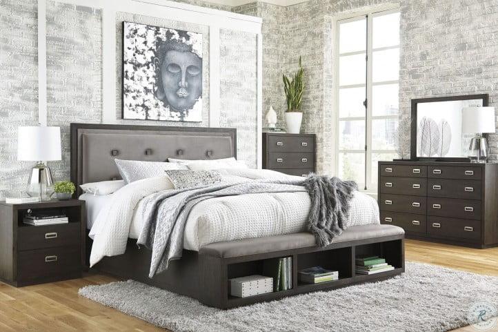 Hyndell Dark Brown Upholstered Platform Storage Bedroom Set