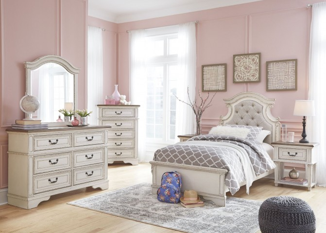 Realyn Chipped Two Tone Youth Upholstered Panel Bedroom
