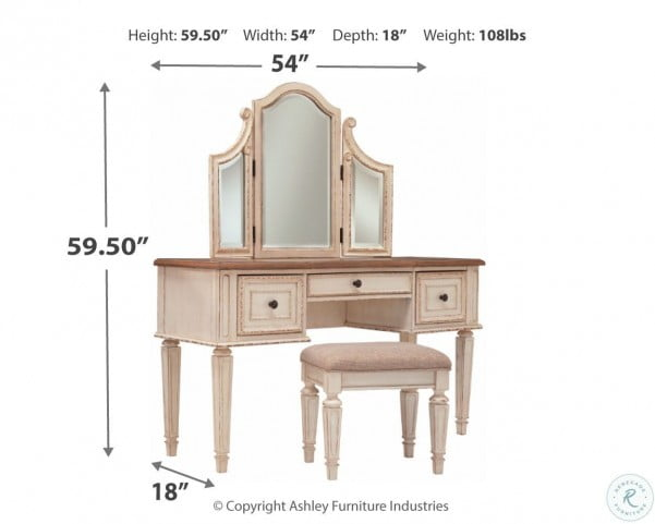 Realyn Chipped Two Tone Upholstered Panel Bedroom Set