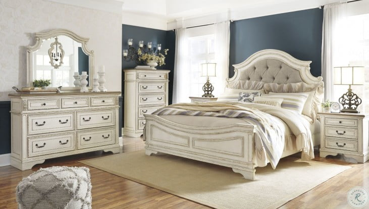 Realyn Chipped Two Tone Upholstered Panel Bedroom Set from Ashley ...