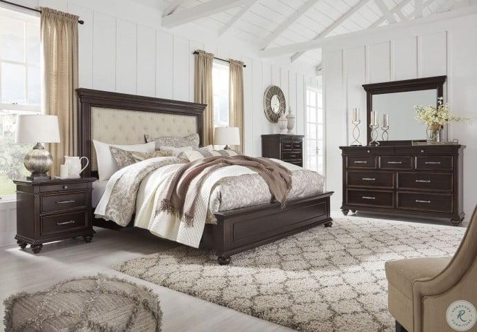 Brynhurst Dark Brown Upholstered Panel Bedroom Set