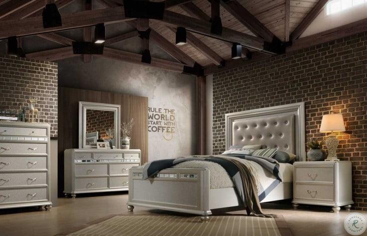 Kaleidoscope Platinum Upholstered Panel Bedroom Set