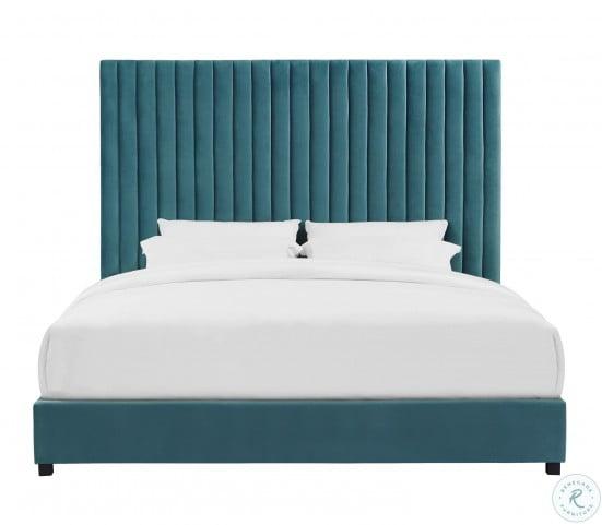 Arabelle Sea Blue King Upholstered Platform Bed