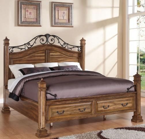 Barclay Rustic Acacia King Poster Storage Bed