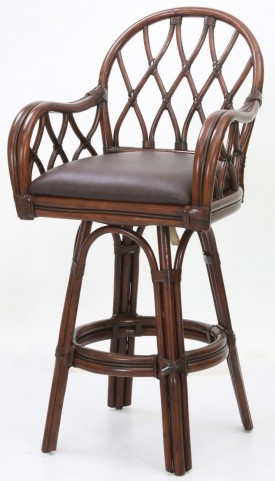 "Dark Brown Bonded Leather 30"" Rattan Frame Stool"
