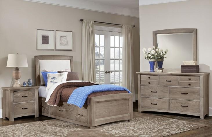 Transitions Driftwood Oak Two Side Storage Upholstered Panel Bedroom Set