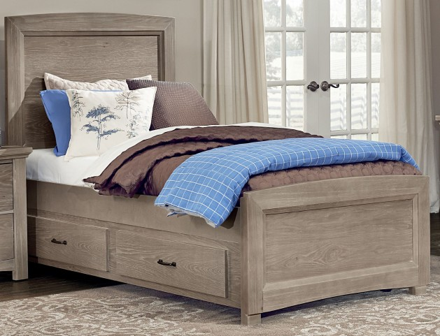Transitions Driftwood Oak Queen One Side Storage Panel Bed