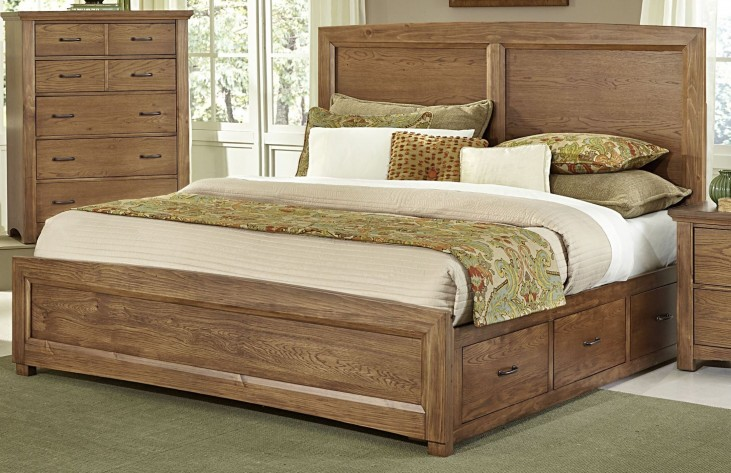 Transitions Dark Oak King One Side Storage Panel Bed