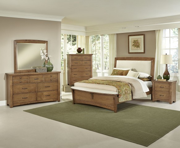Transitions Dark Oak Upholstered Panel Bedroom Set