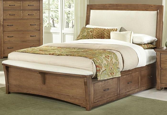 Transitions Dark Oak King Two Side Storage Upholstered Panel Bed