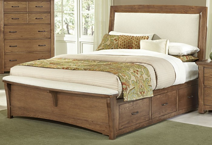 Transitions Dark Oak Queen Two Side Storage Upholstered Panel Bed