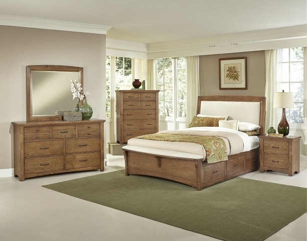 Transitions Dark Oak Two Side Storage Upholstered Panel Bedroom Set