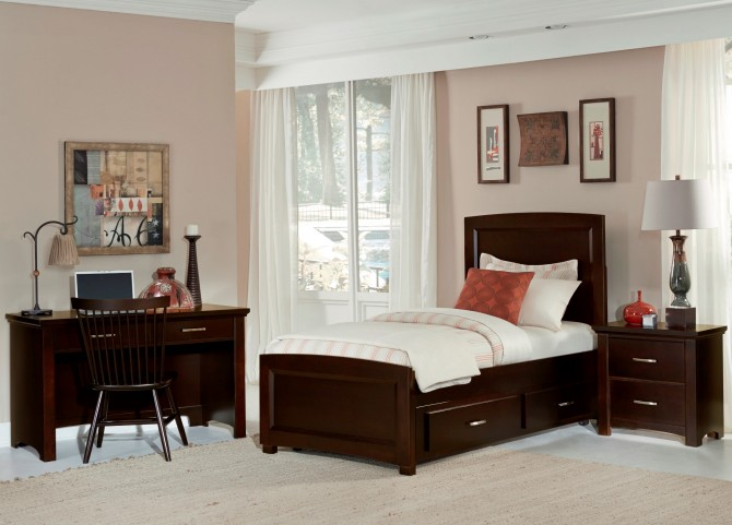 Transitions Merlot Youth One Side Storage Panel Bedroom Set