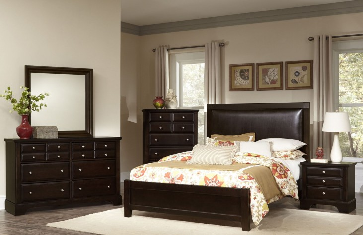 Bedford Merlot Upholstered Panel Bedroom Set