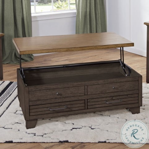 Bear Creek Rustic Brown And Grey Lift Top Cocktail Table