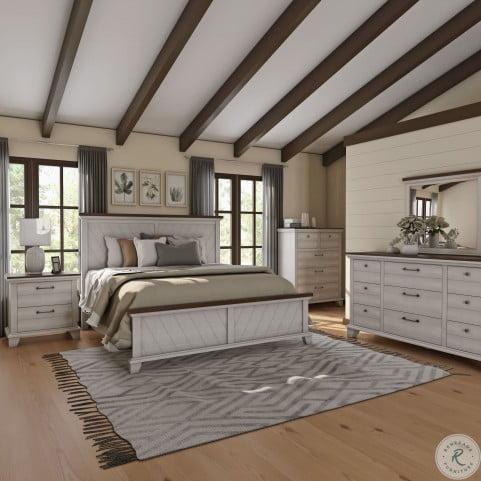 Bear Creek Rustic Ivory and Honey Panel Bedroom Set