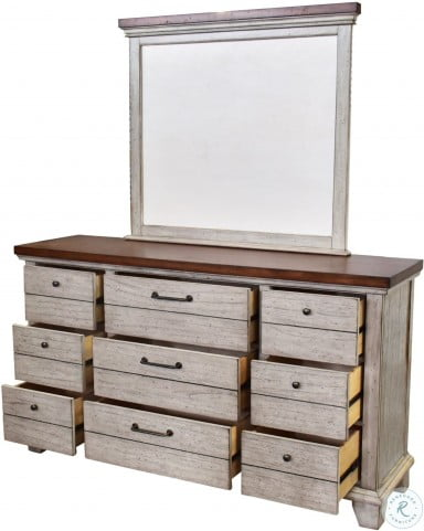 Bear Creek Rustic Ivory And Honey Dresser And Mirror