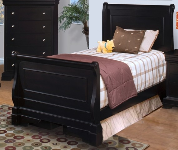 Belle Rose Black Cherry Full Sleigh Bed
