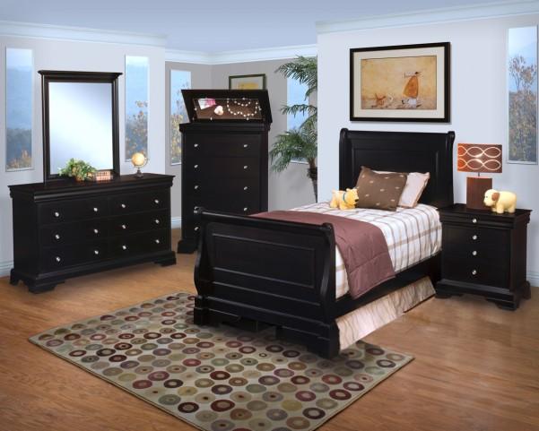 Belle Rose Black Cherry Youth Sleigh Bedroom Set