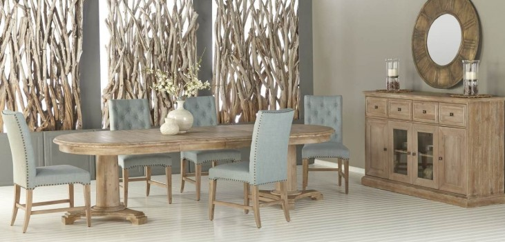 Belmont Stone Wash Oval Extendable Dining Room Set with Wilshire Oasis Fabric Dining Chairs
