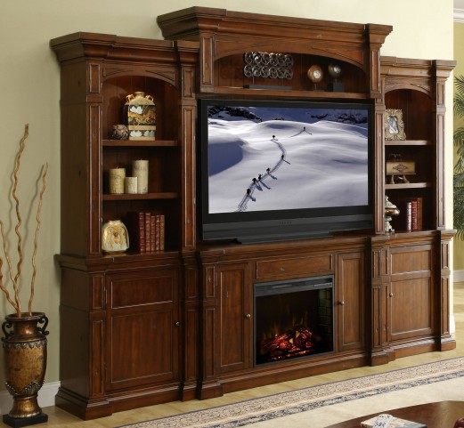 Berkshire Old World Umber Fireplace Entertainment Wall