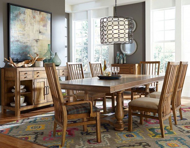 Bethany Square Brown Trestle Dining Room Set