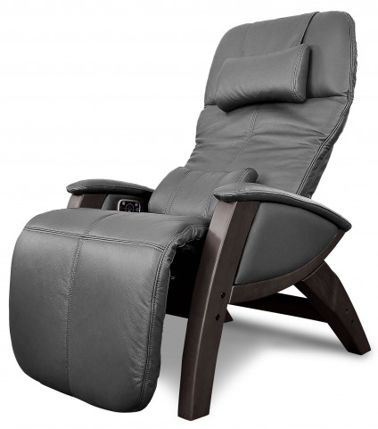 Svago Black Leather Benessere Chair With Walnut Wood Legs