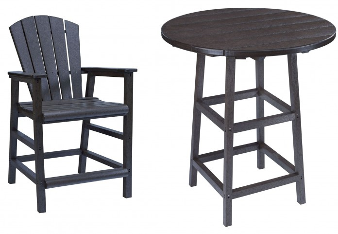"Generations Black 32"" Round Leg Pub Set"