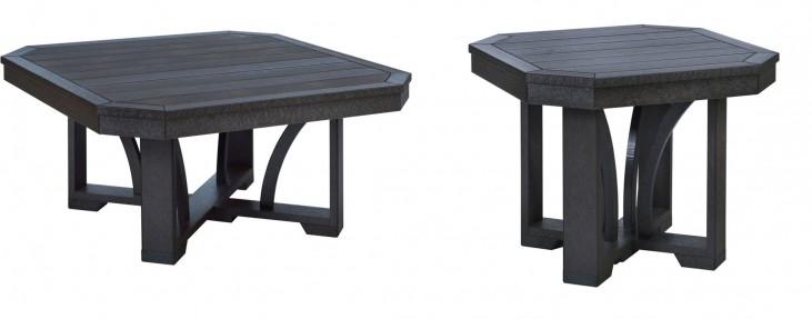 """St Tropez Black 35"""" Occasional Table Set"""