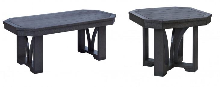 """St Tropez Black 42"""" Occasional Table Set"""