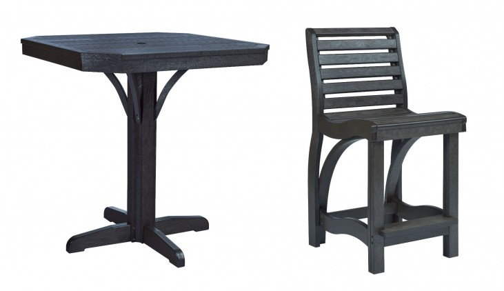 "St Tropez Black 35"" Square Counter Dining Room Set"