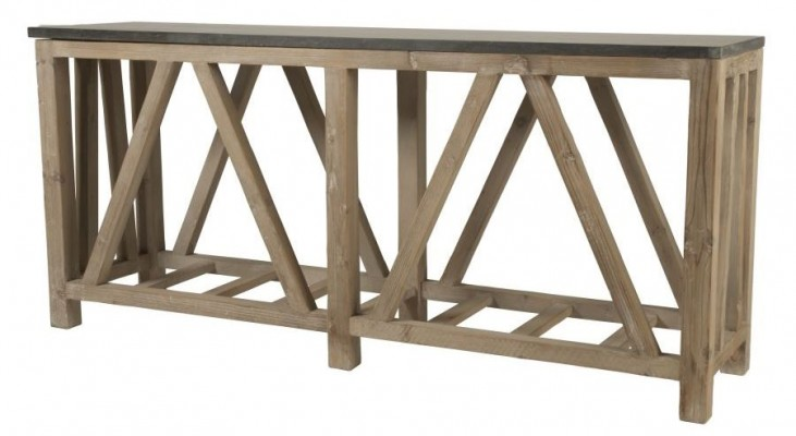 Blue Smoke Gray and Blue Stone Console Table