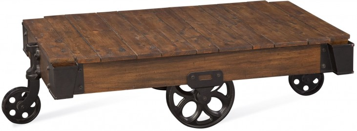 Hand Distressed Burnished Pine Factory Cart