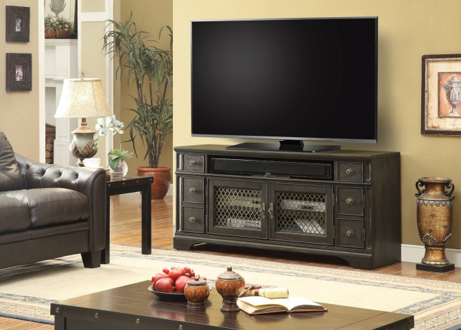 """Bohemian Antique Cinder 63"""" TV Console With Power Center"""