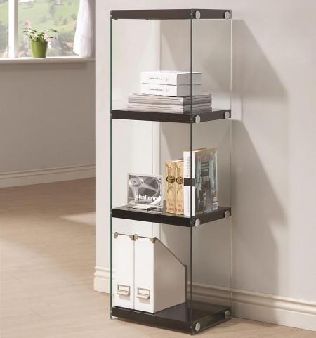 801257 Glossy Black Bookcase