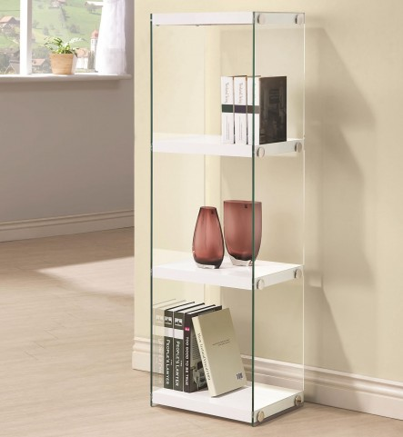 801258 Glossy White Bookcase