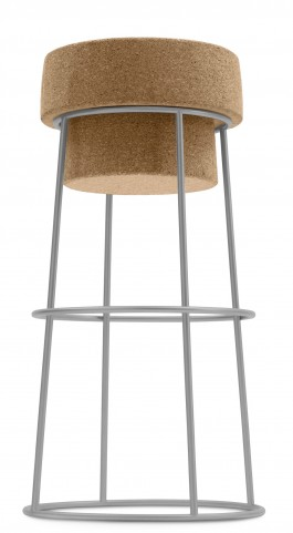 Bouchon Cork Barstool with Satinated Aluminum Frame
