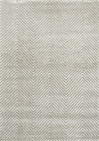 "Boulevard Light Grey White Chevron Glitz Low Pile Shag 63"" Rug"
