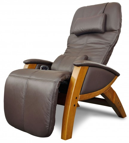 Svago Brown Leather Benessere Chair With Honey Wood Legs