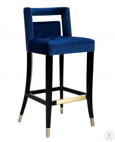 Swell Hart Navy Velvet Bar Stool Squirreltailoven Fun Painted Chair Ideas Images Squirreltailovenorg