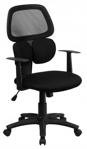 Mid-Back Black Chair with Flexible Dual Lumbar Support