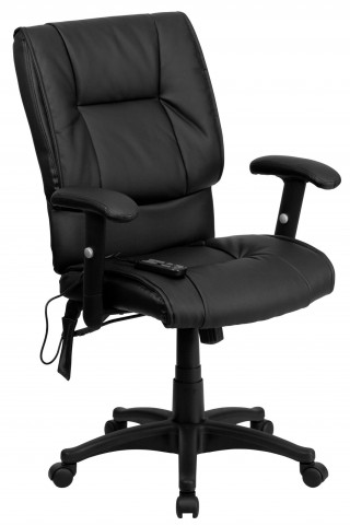 Mid-Back Massaging Black Executive Office Chair