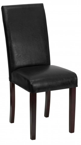 Black Vinyl Upholstered Parsons Chair