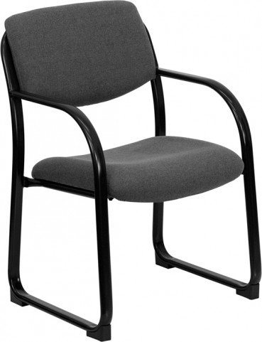 Gray Executive Side Chair with Sled Base